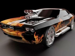 Dodge Challenger In Flames.