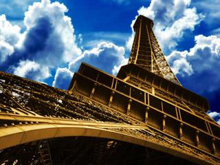 Eiffel Under Blue Skies